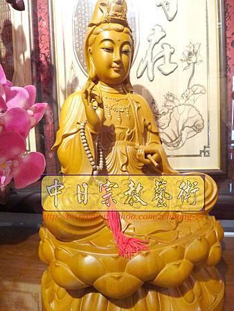 L3102.神桌神像雕刻特輯~觀世音菩薩木雕佛像 1尺6高度-樟木.JPG