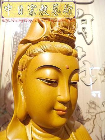 L3103.神桌神像雕刻特輯~觀世音菩薩木雕佛像 1尺6高度-樟木.JPG