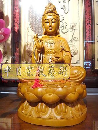 L3104.神桌神像雕刻特輯~觀世音菩薩木雕佛像 1尺6高度-樟木.JPG