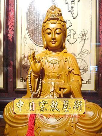 L3105.神桌神像雕刻特輯~觀世音菩薩木雕佛像 1尺6高度-樟木.JPG