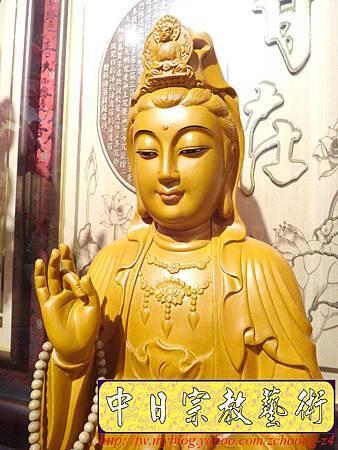 L3106.神桌神像雕刻特輯~觀世音菩薩木雕佛像 1尺6高度-樟木.JPG