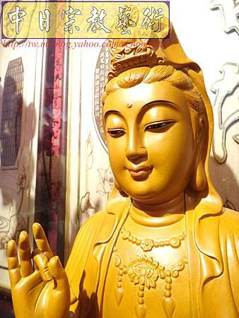 L3110.神桌神像雕刻特輯~觀世音菩薩木雕佛像 1尺6高度-樟木.JPG