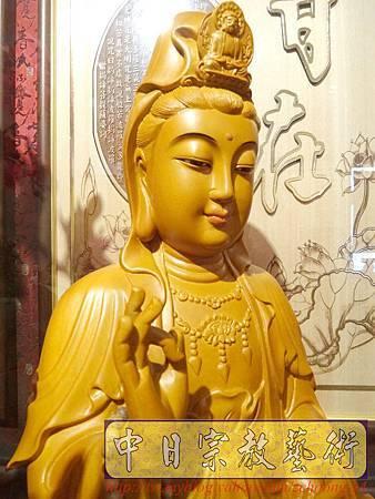 L3115.神桌神像雕刻特輯~觀世音菩薩木雕佛像 1尺6高度-樟木.JPG