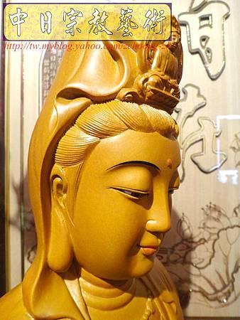 L3117.神桌神像雕刻特輯~觀世音菩薩木雕佛像 1尺6高度-樟木.JPG
