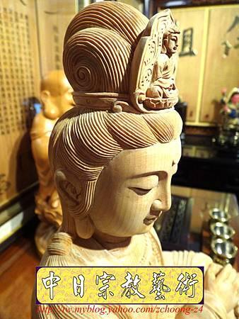 L3504.神桌佛像雕刻自在觀音木雕神像 神明貼座.JPG