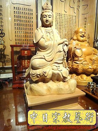 L3505.神桌佛像雕刻自在觀音木雕神像 神明貼座.JPG