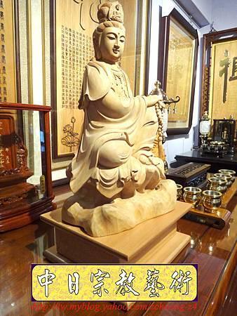 L3508.神桌佛像雕刻自在觀音木雕神像 神明貼座.JPG