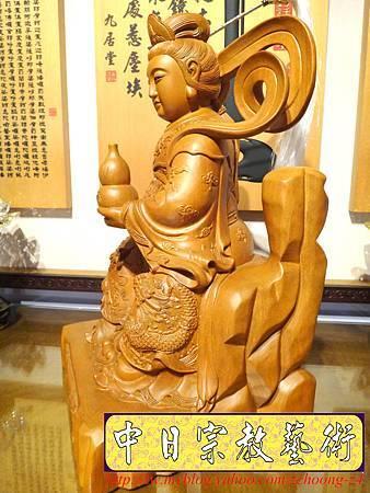 L3618.神桌神像雕刻~九天玄女木雕佛像.JPG