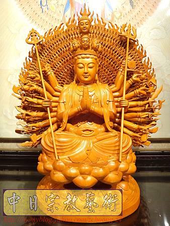 L3702.千手千眼觀音木雕佛像 神桌神像雕刻.JPG