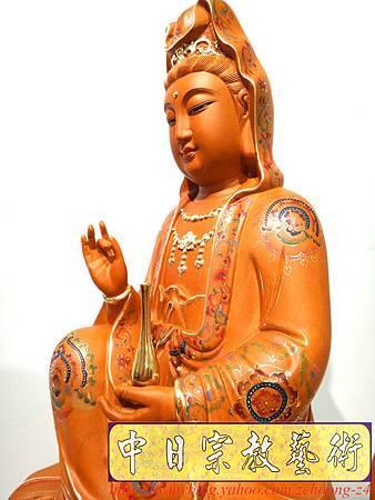 L3901.極緻神桌佛像雕刻 自在觀世音菩薩神像雕刻 極彩描金製做.JPG