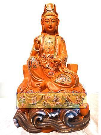 L3904.極緻神桌佛像雕刻 自在觀世音菩薩神像雕刻 極彩描金製做.JPG