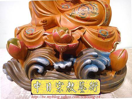 L3911.極緻神桌佛像雕刻 自在觀世音菩薩神像雕刻 極彩描金製做.JPG