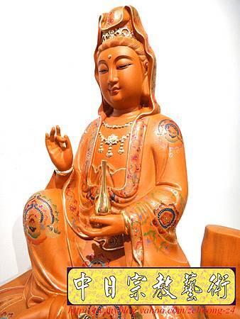 L3916.極緻神桌佛像雕刻 自在觀世音菩薩神像雕刻 極彩描金製做.JPG