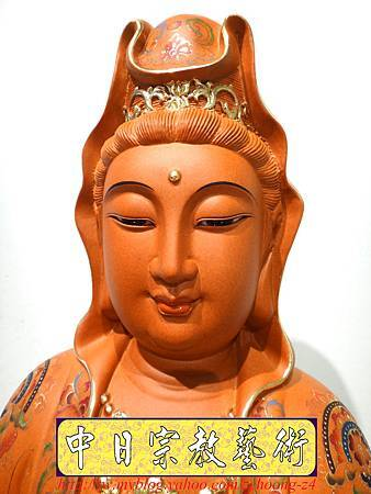 L3924.極緻神桌佛像雕刻 自在觀世音菩薩神像雕刻 極彩描金製做.JPG