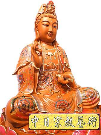 L4101.極緻神桌佛像雕刻~觀世音菩薩木雕佛像 極彩描金製做.JPG