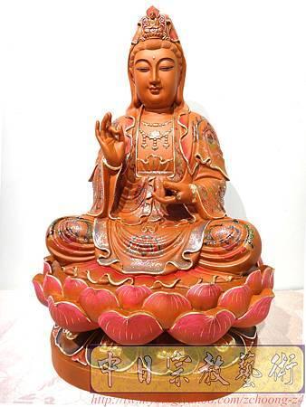L4102.極緻神桌佛像雕刻~觀世音菩薩木雕佛像 極彩描金製做.JPG