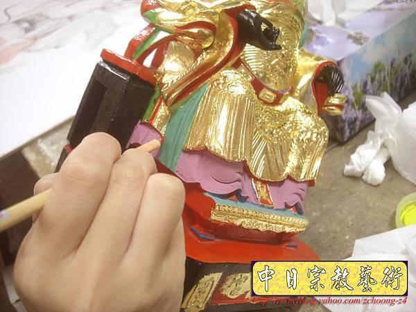 K2317.黑面媽祖神像整修貼金箔~斷指接合處裡.JPG