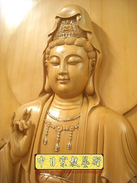 G2304.神桌佛掛佛聯~實木雕刻觀世音菩薩像(半浮雕).JPG