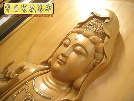 G2305.神桌佛掛佛聯~實木雕刻觀世音菩薩像(半浮雕).JPG