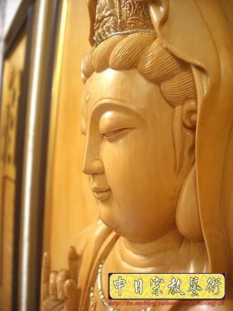 G2307.神桌佛掛佛聯~實木雕刻觀世音菩薩像(半浮雕).JPG