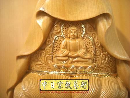 G2312.神桌佛掛佛聯~實木雕刻觀世音菩薩像(半浮雕).JPG