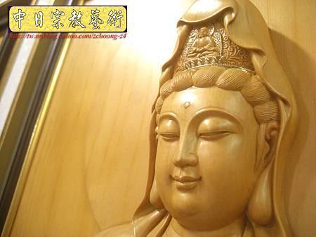 G2314.神桌佛掛佛聯~實木雕刻觀世音菩薩像(半浮雕) .JPG