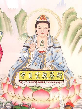 C5303.神桌神神像神聯(綢布手繪八尊)觀世音菩薩 天上聖母.JPG