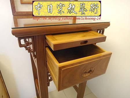 E6306.小神桌設計~2尺小佛桌祖先桌公媽桌 陽雕心經木雕聯.JPG