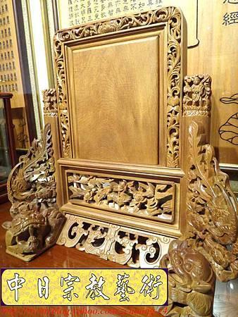 E6801.客家大牌雕刻 雙獅祖先牌位雕刻 肖楠木公媽牌製作.JPG