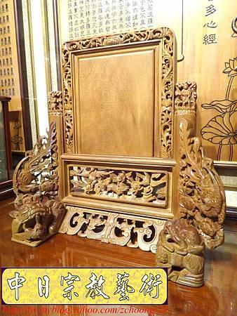 E6803.客家大牌雕刻 雙獅祖先牌位雕刻 肖楠木公媽牌製作.JPG