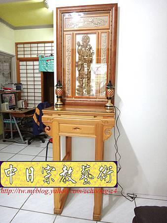 E7002.檜木公媽桌 半浮雕福祿壽雕刻.JPG