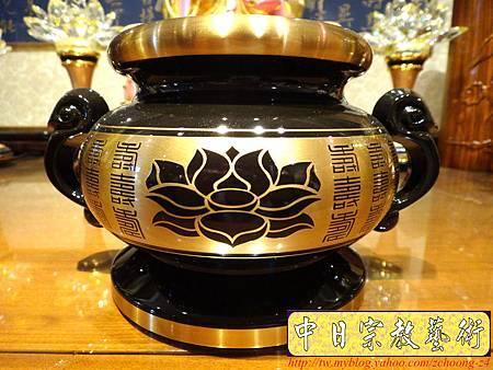 F3201.高級神桌佛具銅器.雙色金蓮花祖爐.JPG