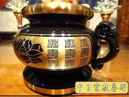 F3202.高級神桌佛具銅器.雙色金蓮花祖爐.JPG