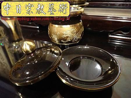 F4406.高級神桌銅器~雙色雙龍杯 黑檀鋸花片供水桌.JPG