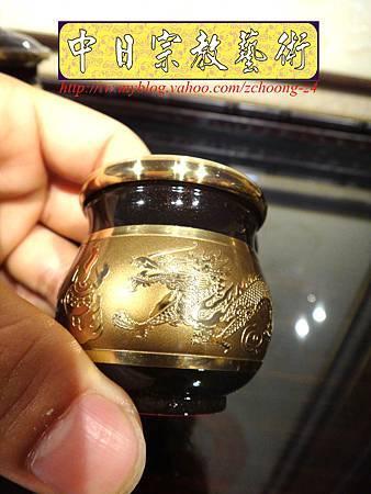 F4407.高級神桌銅器~雙色雙龍杯 黑檀鋸花片供水桌.JPG