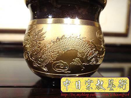 F4409.高級神桌銅器~雙色雙龍杯 黑檀鋸花片供水桌.JPG