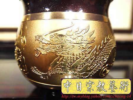 F4410.高級神桌銅器~雙色雙龍杯 黑檀鋸花片供水桌.JPG