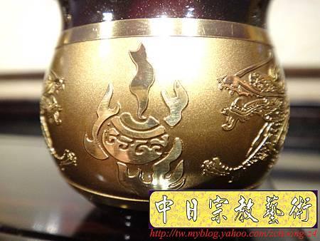 F4412.高級神桌銅器~雙色雙龍杯 黑檀鋸花片供水桌.JPG