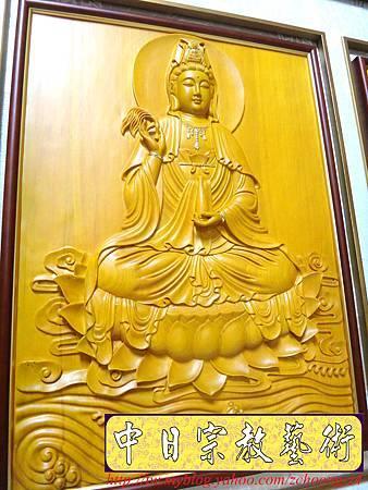 G2603.神桌神明彩設計~浮雕觀世音菩薩像 福祿壽木雕聯.JPG