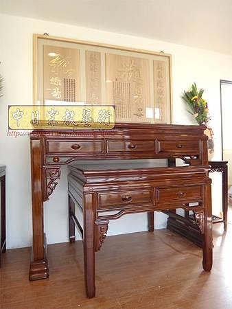 N21001.5尺8漢式神桌 紫檀色系佛桌樣式 神桌花架 觀自在神聯 木雕佛聯 佛堂設計精選.JPG