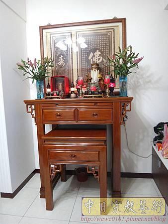 N21401.4尺2神桌製做 居家佛堂佛桌設計 雷射雕刻心經木雕神聯佛聯.JPG