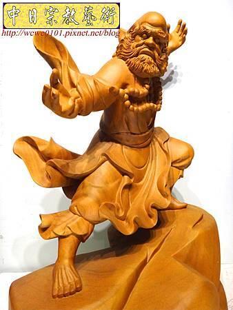 L4403.達摩祖師木雕 樟木神桌神像雕刻.JPG