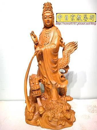 L4601.騬龍觀音木雕神像 站龍觀世音菩薩神桌佛像雕刻.JPG