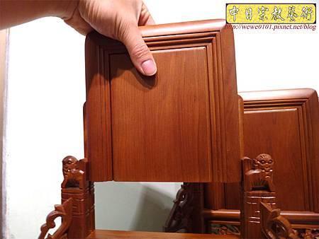 E8009.台灣梢楠木客家大牌 祖先牌位雕刻 雙獅祖牌.JPG