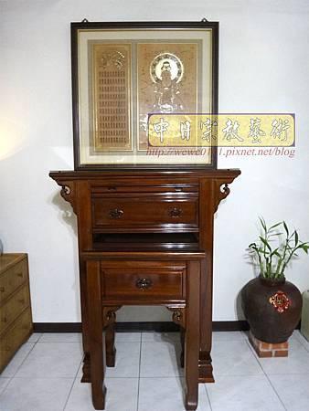 N22202.小神桌2尺9佛桌 高度4尺2 實木觀音木雕神聯佛聯.JPG