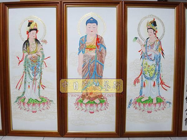 C8702.佛堂佛桌佛掛 手繪西方三聖畫像.JPG