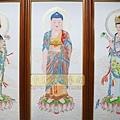 C8703.佛堂佛桌佛掛 手繪西方三聖畫像.JPG