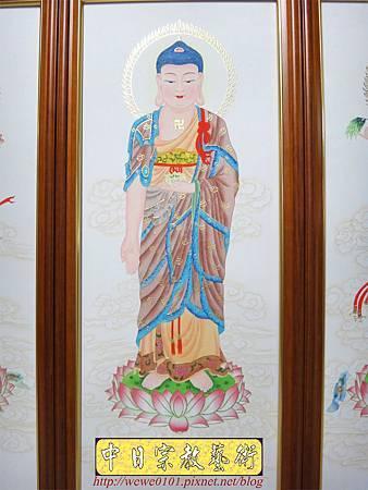 C8704.佛堂佛桌佛掛 手繪西方三聖畫像.JPG