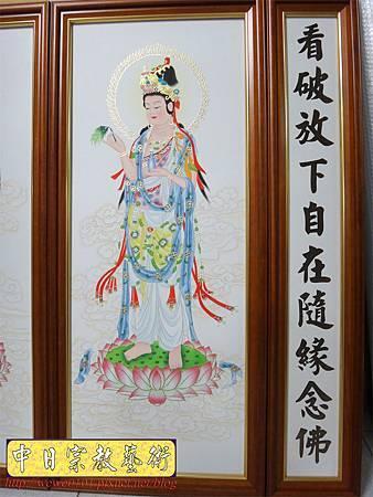 C8705.佛堂佛桌佛掛 手繪西方三聖畫像.JPG