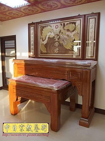 N23501.7尺神桌 漢式如意佛桌樣式 祥龍搶珠神聯 神桌後貼龍木雕.JPG